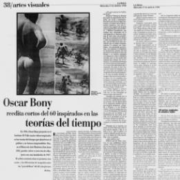 Oscar Bony reedita cortos del 60 inspirados en las teorías del tiempo